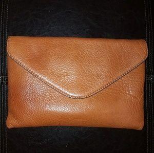 J. Crew Brown Envelope Clutch Shoulder Bag
